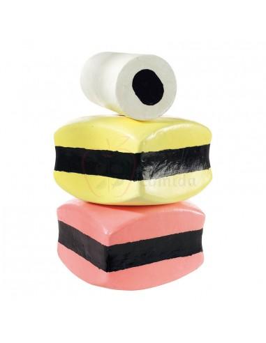 Réplica de Dulce de regaliz blanco/amarillo/rosa  30x30x20/30x15cm
