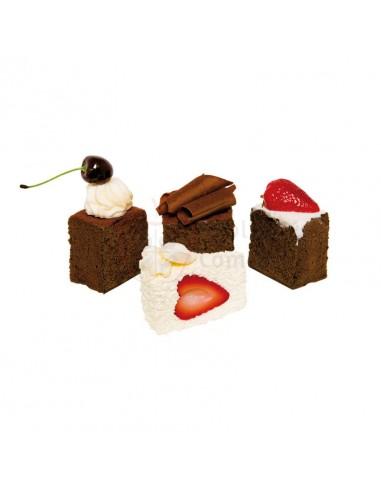 Réplica de Imitación Porción cuadrada de tartas de chocolate y frutas  4-7cm